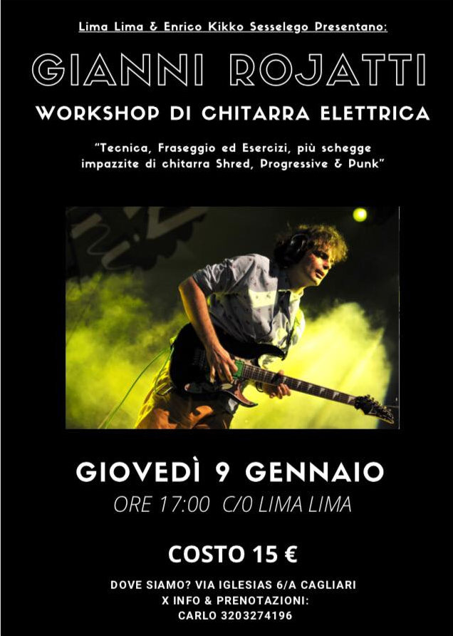 Locandina Workshop Gianni Rojatti Cagliari